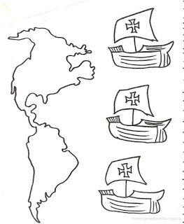Dibujo para colorear de las Tres Carabelas de Colon