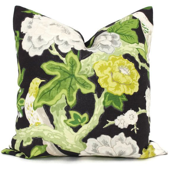 Decorative Pillow Cover in Bermuda Blossoms by Mary McDonald for Schumacher Ebony 18x18, 20x20 or 22x22, Eurosham or lumbar pillow, cushion