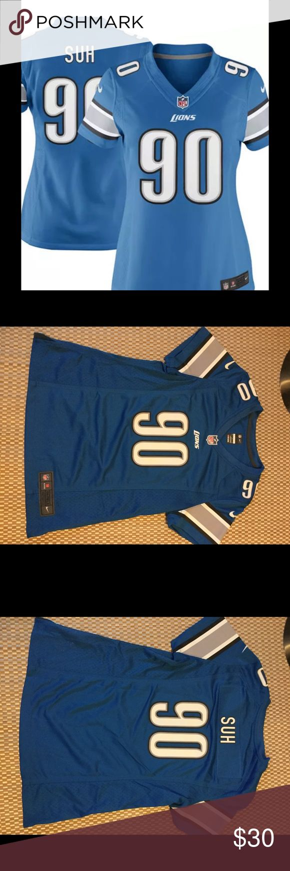 Nike NFL JERSEY Detroit Lions Ndamukong Suh NFL JERSEY BLUE ON FIELD JERSEY MEDIUM.. NEW WITHOUT TAG NFL Tops Tees - Short Sleeve