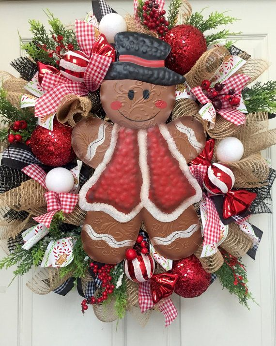 Christmas Gingerbread Mesh Burlap Wreath by WilliamsFloral on Etsy