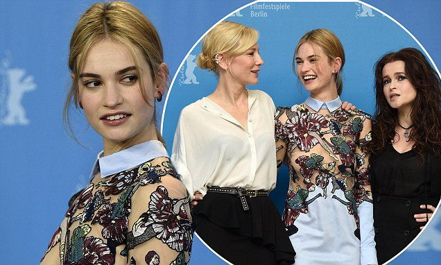 Lily James gets giggles with Cate Blanchett and Helena Bonham-Carter