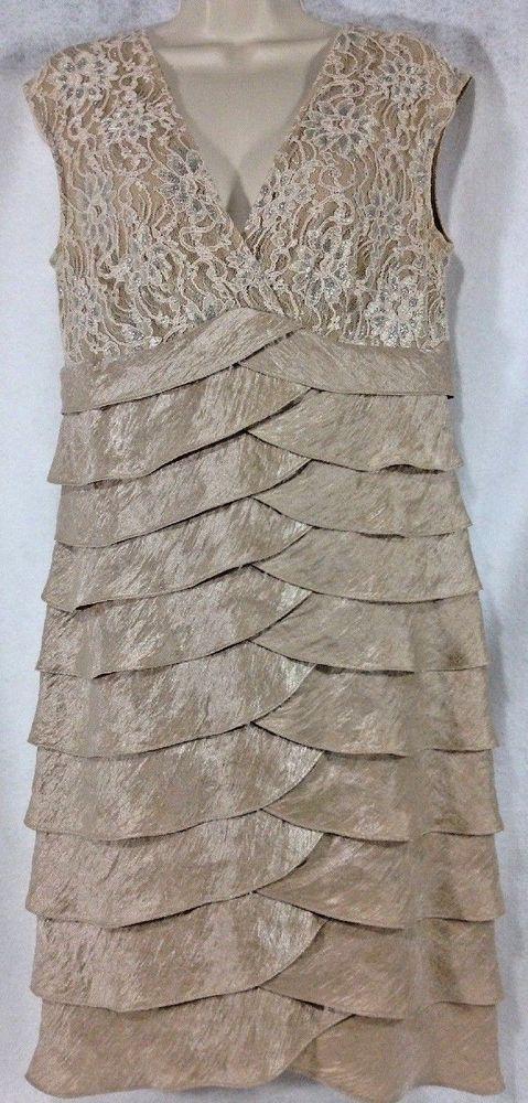78b517c50bde1 Jessica Howard 10 Formal Dress Beige Sheath Shutter Pleat Tiered Skirt Lace  MOB #JessicaHoward #SheathDress #Formal #sheath #Pleats …