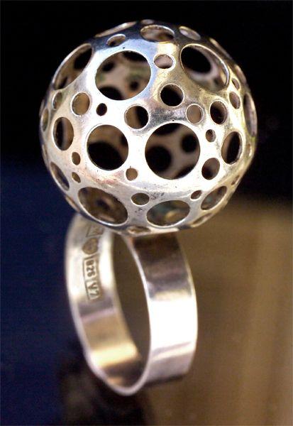 Ring | Liisa Vitali. 'Ladybird'. Sterling Silver. Finland. 1974