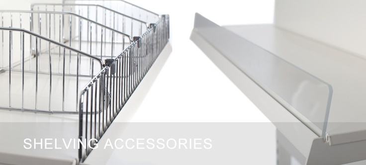 Shelves & Shop Shelving Accessories, including dump bins, stacking wire baskets, shopping baskets, Epos ticket strips