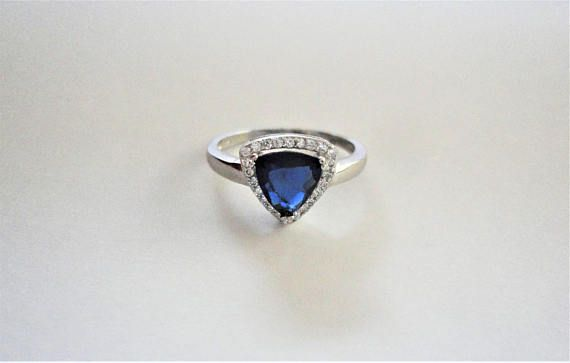 Blue Natural Pear cut Sapphire Simulated 925 Sterling Silver
