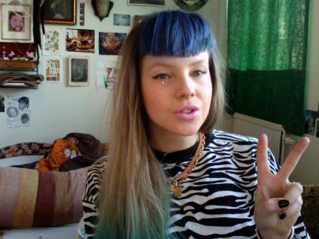 dyed bangs