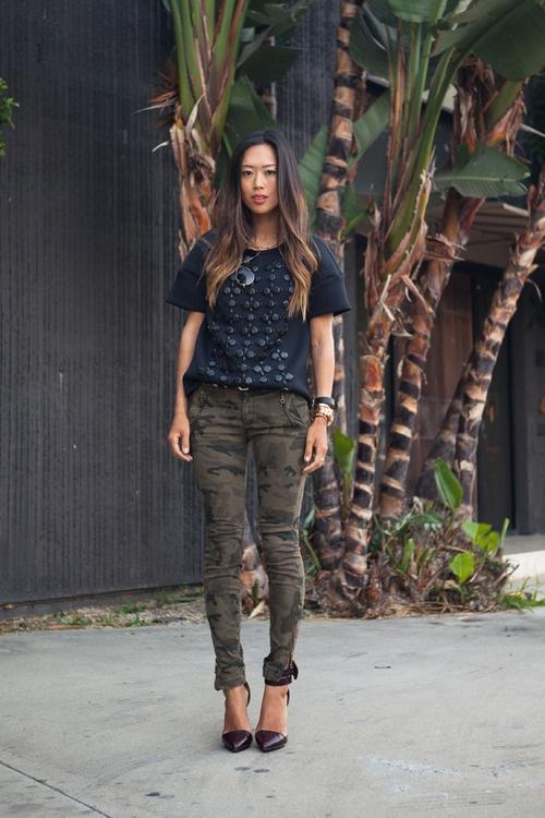 Tibi TopZara Camo Skinny Jeans L.A.M.B. Ankle Strap Heels