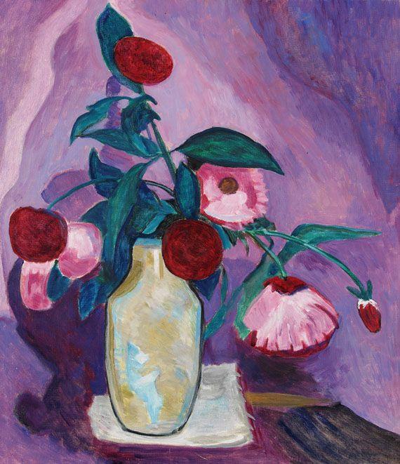 Pink Flowers (1958) by Gabriele Münter, oil on canvas (kettererkunst)