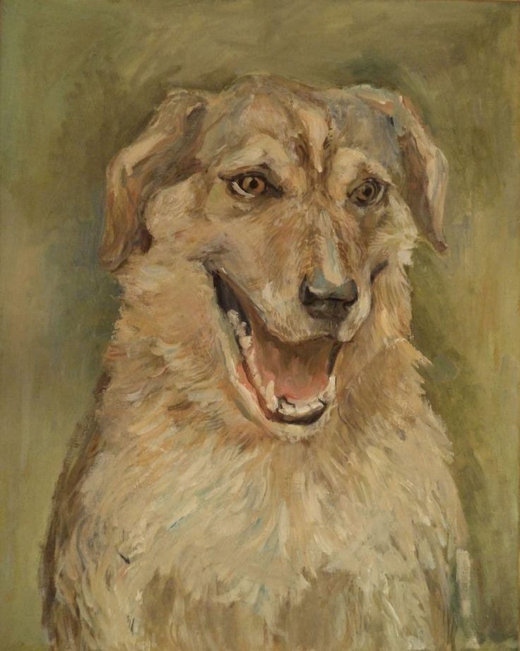портрет собаки, холст, масло, 40х50 см portrait of dog, canvas, oil, 40х50 cm