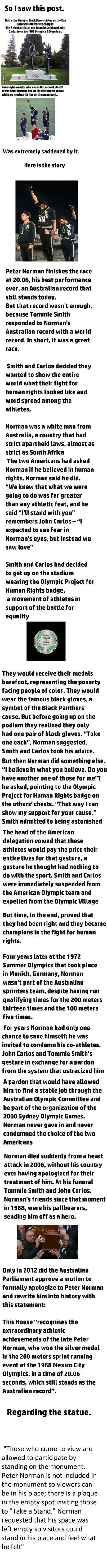 Peter Norman. Giving up on his dreams to set a mark on human rights. The real story behind the statues.