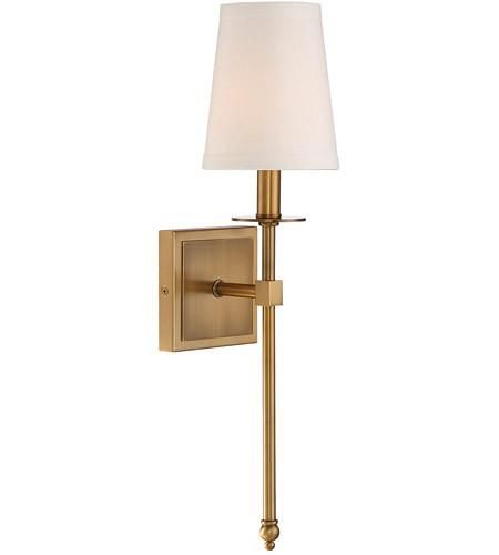 FREE SHIPPING. Purchase the transitional Monroe Wall Sconce in Warm Brass with Soft White Fabric Shade today for your bathroom lighting or hallway lighting at lightingconnection.com. Savoy House 9-302-1-322.