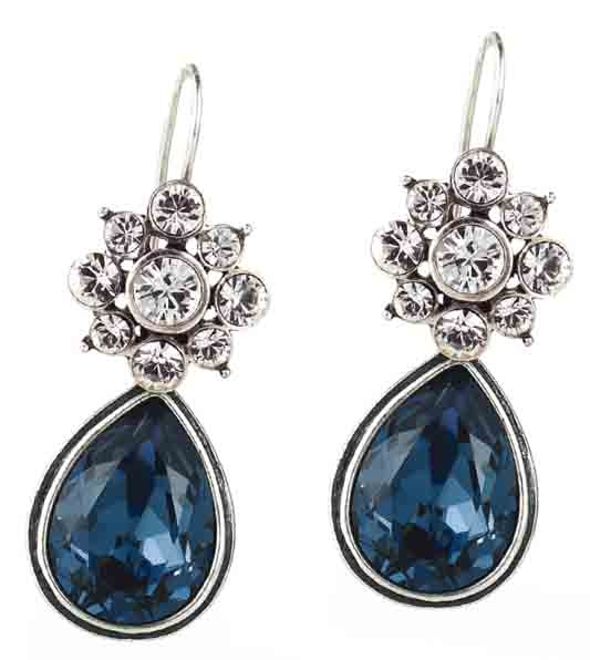 Flower Swarovski Crystal french wires (E2212) worn with our Denim blue Swarovski Crystal teardrop earring charms (E2258) (these come with standard french wires so can be worn alone)