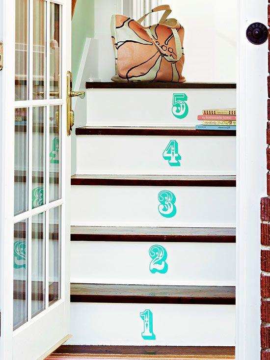 Cute way to update a stairway - Stairway Art