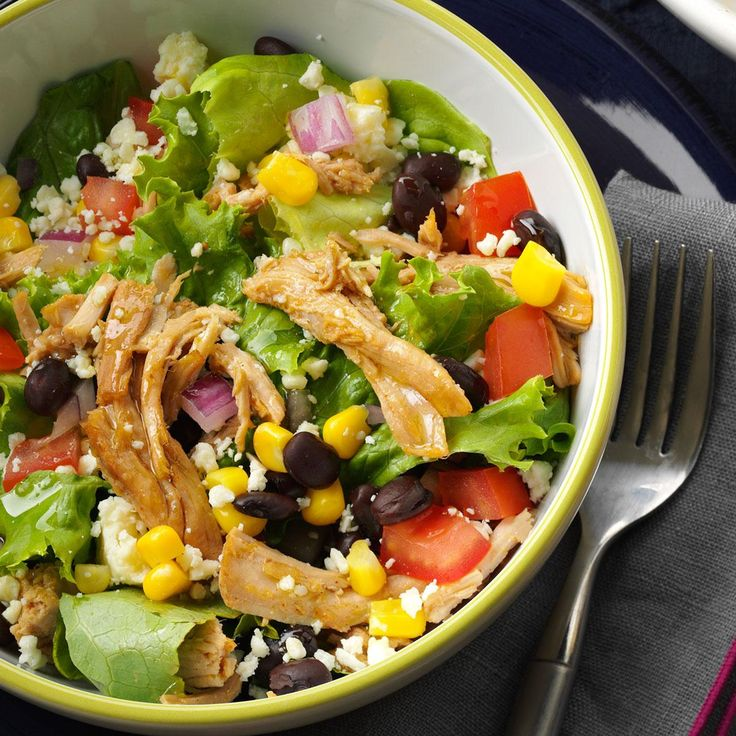 Southwest Shredded Pork Salad Recipe from Taste of Home | Turn this meal into a hearty salad of pork, greens, black beans and other Southwestern sprinklings.