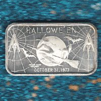 Here's a Happy Halloween silver bar. It would have probably made a great Halloween silver gift back when it was manufactured.