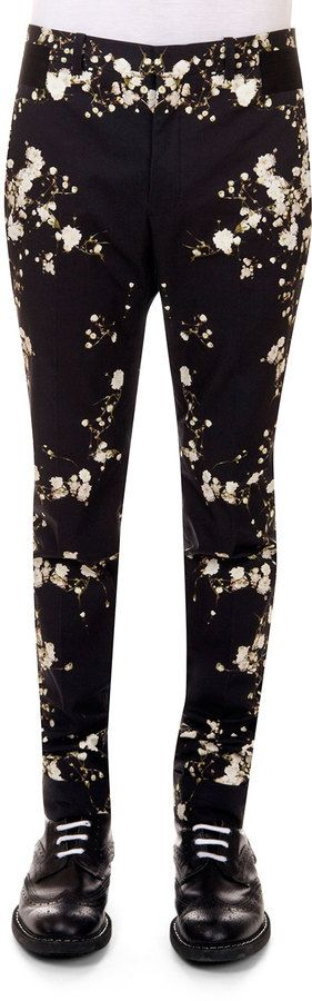 Givenchy Baby's Breath-Print Slim-Fit Pants