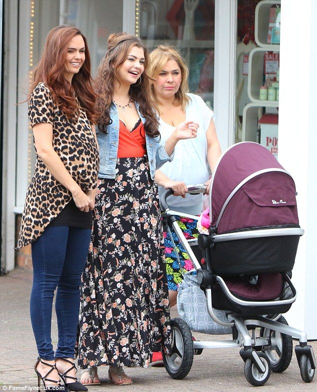 With the family: Jennifer was on set with Sarah George and Nicole Barber-Lane