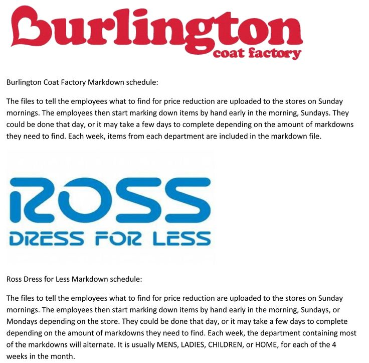 Ross Dress for Less & BCF Burlington Coat Factory Markdown ...