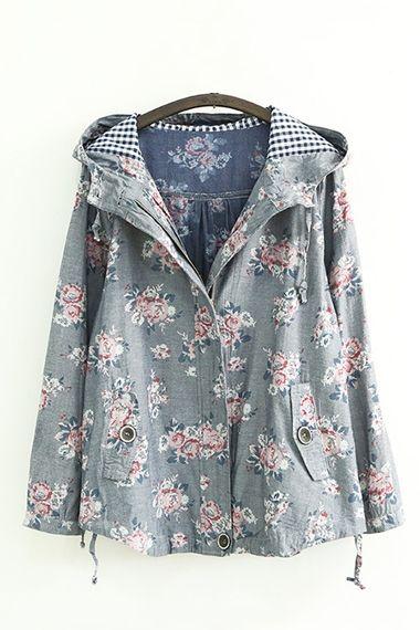 Floral Print Grey Long Sleeves Hoodie Coat Outerwear