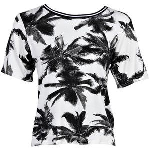 Black and white palm print t-shirt.