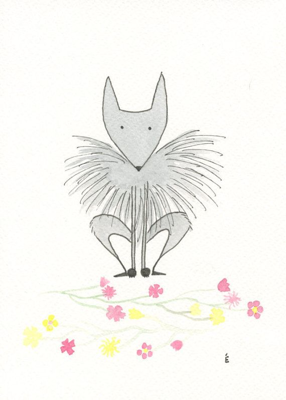 Cute Wolf and Flowers Watercolour by emilieOillustration on Etsy