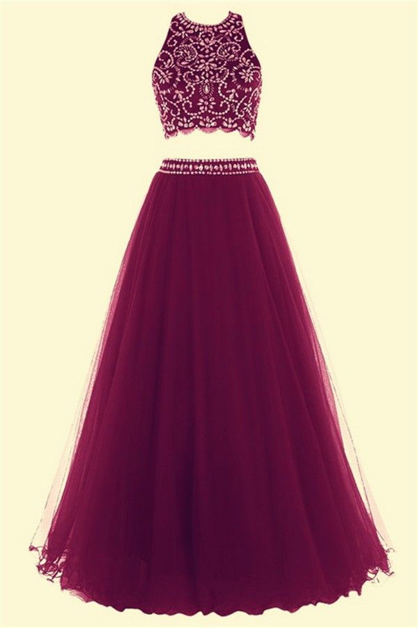 Fashion A Line Halter Long Burgundy Tulle Beaded Two Piece Prom Dress