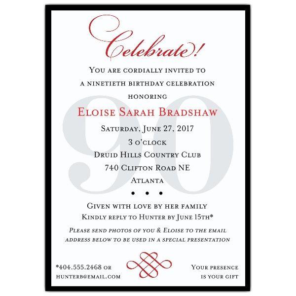 Classic+90th+Birthday+Invitations