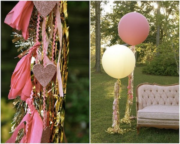 DIY Giant Balloons With Streamers - love the tinsel! more cute balloon tutorials here >> http://su.pr/2wfHDz