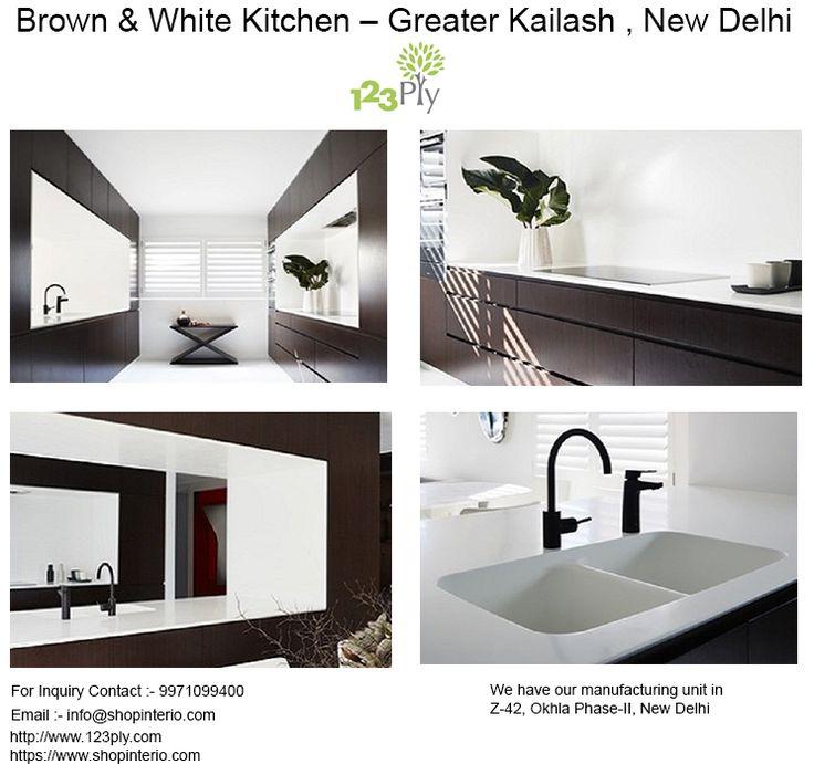 Brown U0026 White Kitchen U2013 Greater Kailash , New Delhi. 123Ply.com Is Corian