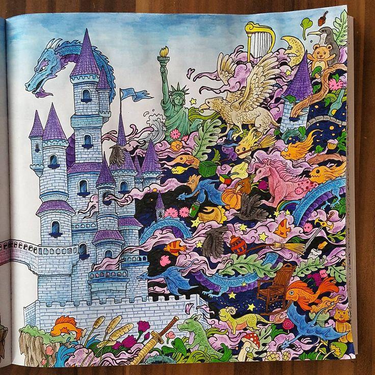 Erster Teil vom Schloss aus dem Imagimorphia Malbuch  #imagimorphia #ausgemalt #ausmalen #ausmalenfürerwachsene #coloring #color #coloringbook #aquarellbuntstifte #stabilo #buntstifte #drache #dragon #schloss #burg #blau #blue #kerbyrosanes