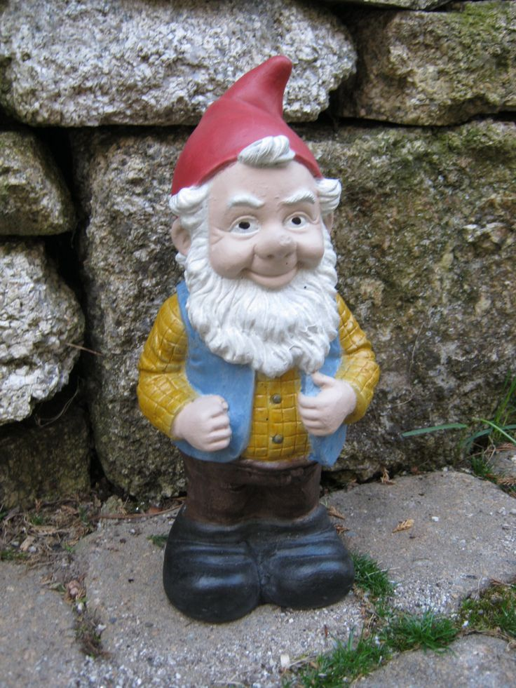 Gnome Named Gneil, Painted Concrete Garden Gnomes by WestWindHomeGarden on Etsy https://www.etsy.com/listing/94652054/gnome-named-gneil-painted-concrete