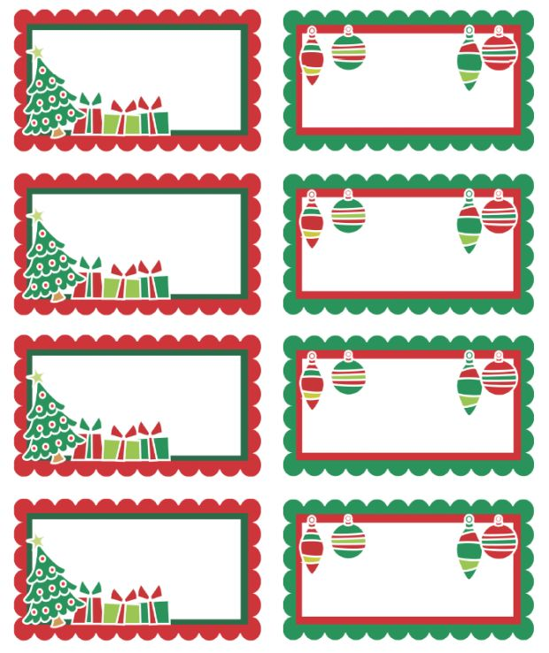 free christmas name place cards templates