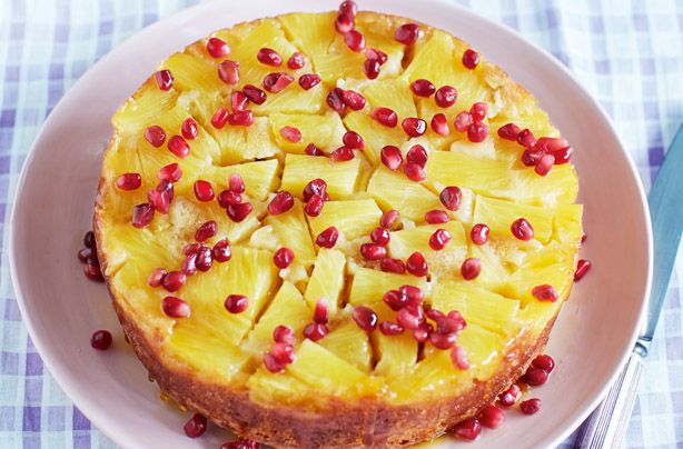 A colourful and yummy pineapple and pomegranate upside down cake which you can enjoy with your feet up and an afternoon tea. It's fruity and fun and not only very lovely to look at but it's of course lovely to eat too. Taking a few extra minutes to make the drizzle will mean your cake is moist and refreshing too!