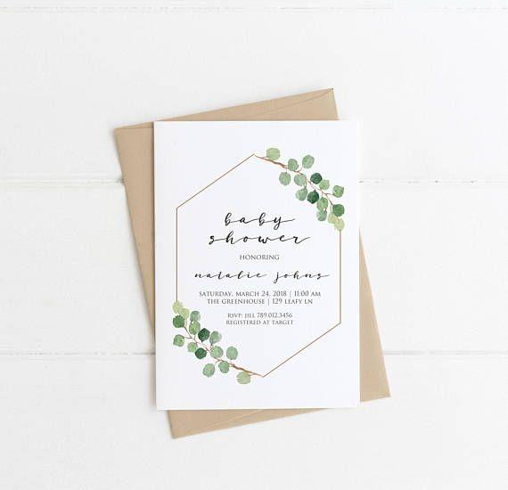 Baby Shower Invitation, Greenery Baby Shower Invite, Gender Neutral, Minimalist Simple Modern Printable, Green Eucalyptus Spring Shower