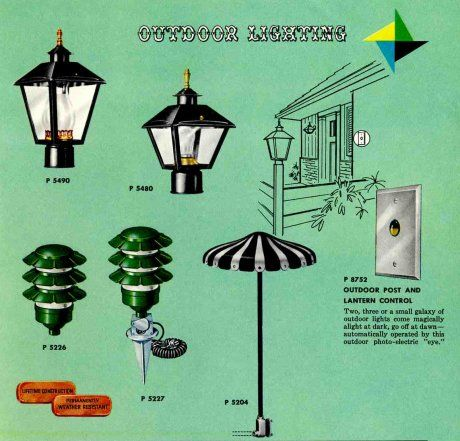 HERE IS A REALLY GREAT SURVEY OF VINTAGE OUTDOOR LIGHTING, from my 1961 Progress Lighting catalog. I started with this photo because: Just look at the little umbrella landscape light. It is phenomenal! The careful addition of outdoor lighting can be one of the easiest and relatively cheapest ways to improve the curb appeal of …