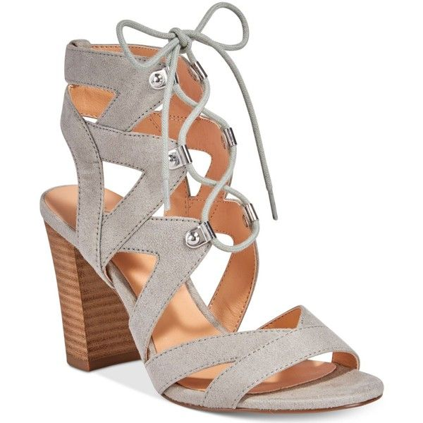 Xoxo Barnie Lace-Up Sandals ($49) ❤ liked on Polyvore featuring shoes, sandals, grey, block-heel sandals, grey heeled sandals, gray strappy sandals, block heel sandals and gray sandals