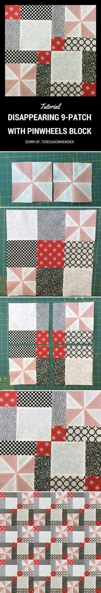 Again a disappearing 9-patch block. And it won't be the last one! I like playful blocks that are quick to make and very effective. Block size: 13 1/2 inches How to make a disappearing 9 patch with ...