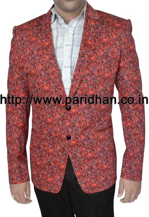 Mens two button blazer made in crimson red color printed cotton fabric.