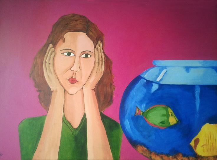 """""""Ana y su pecera""""  Acrílico sobre tabla. 50 x 70 cm. Reyes López"""