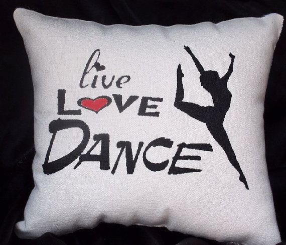 A 12 x 12 screenprinted decorative LIVE LOVE DANCE accent pillow.    Black print with your choice of color for heart. Black and White Zebra