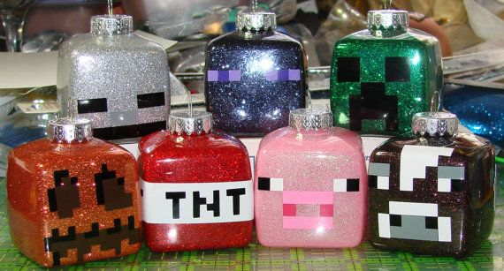 Glitter Minecraft Ornaments 16 different characters available skeleton, enderman, creeper, jack o lantern, tnt pig, cow, magma, spider, sheep, mooshroom, chicken, angry ghast, slime, zombie, ghast.