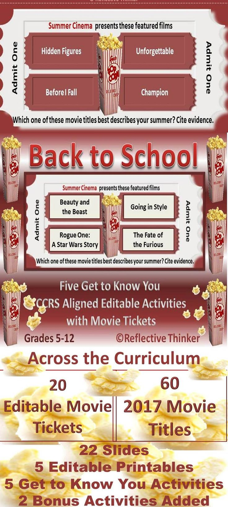 """A fun and engaging resource for back to school that can be used across the curriculum! This movie-themed resource includes five """"Get to Know You"""" editable movie activities with instructions and 5 editable printables. Two bonus activities were added to this resource in 2017. Fun for Grades 5-12."""