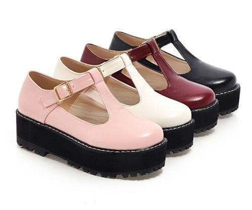 Cute Women's Mary Janes T-Strap Creeper Preppy Girl Goth Platform Oxford Shoes #Unbranded #MaryJanes