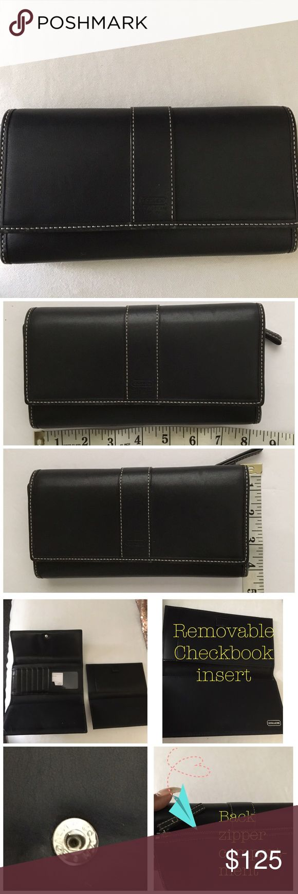 Coach Wallet NWT Coach Wallet.  Removable checkbook cover pls check out coach leather handbag if purchased together you will receive a discount! Coach Bags Wallets