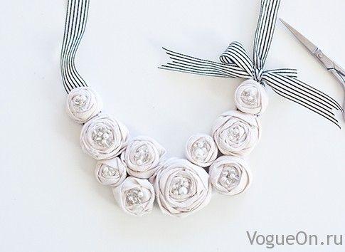 diy: Нежное цветочное ожерелье своими руками