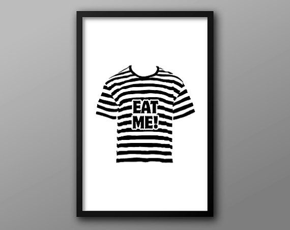 Pugsley Addams, Eat Me Quote Poster // Addams Family Character, Striped Shirt and Typography Illustration on Etsy, $18.00