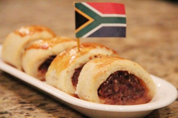 A perfect South African Sausage Roll - cut into bite-sized pieces.