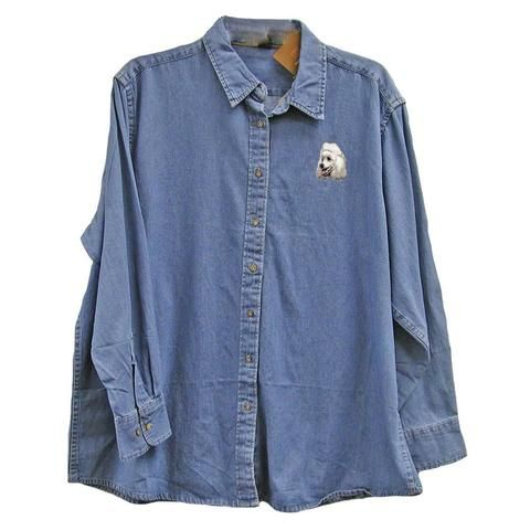 Poodle Embroidered Ladies Denim Shirts | AKC Shop