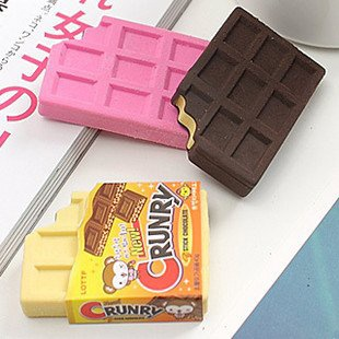 "Chocolate block erasers based on a Japanese candy named ""Crunky""."