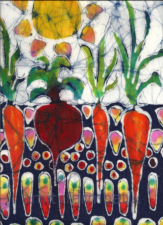 Batik  Garden of Summer Growing Energy   10 x 36 by amityfarmbatik, $21.00